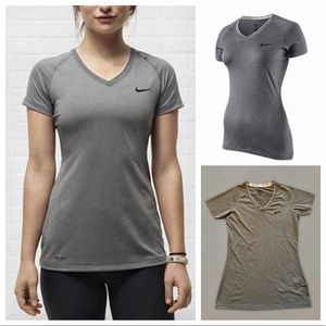 NIKE Women's PRO Fitted V Neck II Top Gray